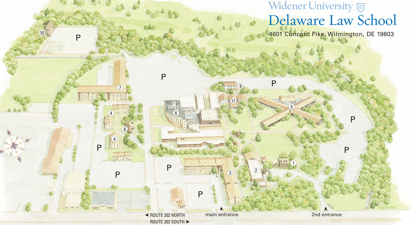 Campus Map Delaware Law Widener University - Delaware us map