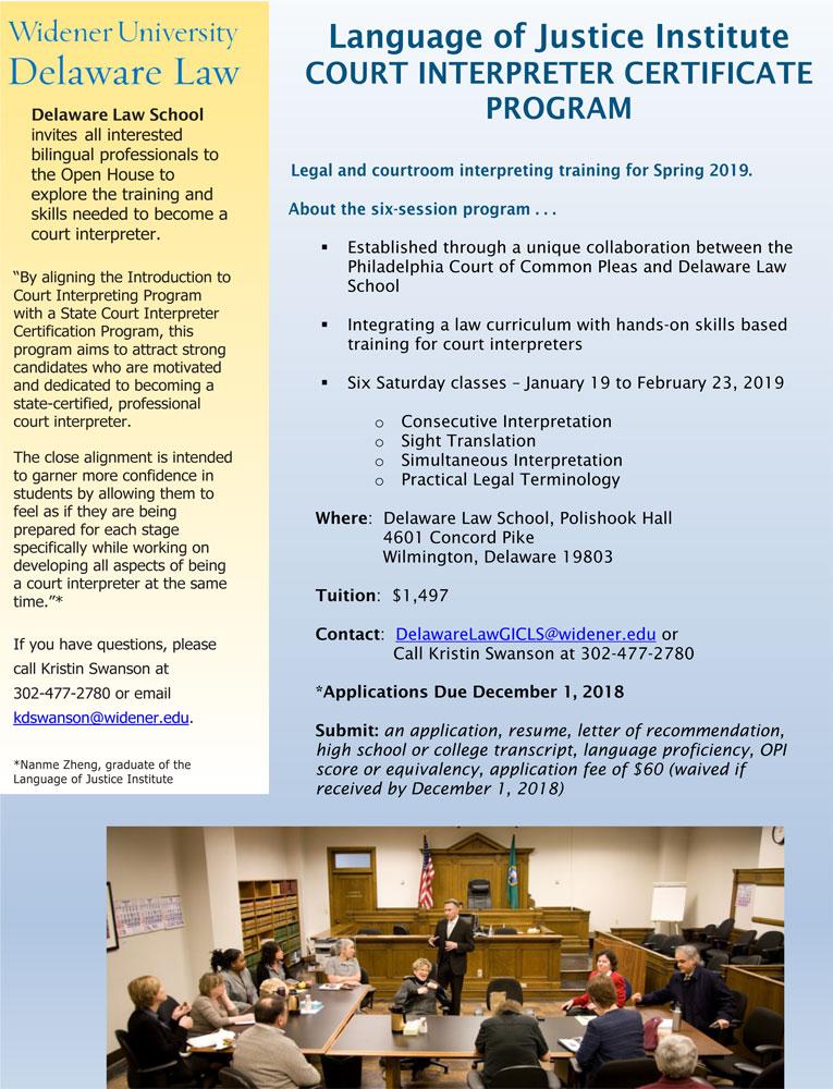 Court Interpreter Program Delaware Law Widener University